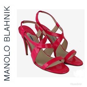 Manolo Blahnik Hot Pink Strappy Sandals Shoes 40